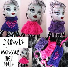 Ravelry: Monster High Cowls pattern by Mrs Lettice Weasel