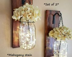 Rustic Hanging Mason Jar Sconces Decorations Ideas