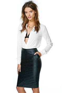 Grazia Faux Leather Pencil Skirt   Shop What's New at Nasty Gal