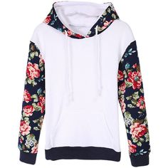 Womens Cute Long Sleeve Flower Printed Hooded Sweatshirt White (31 CAD) ❤ liked on Polyvore featuring tops, hoodies, outerwear, sweaters, long sleeves, white, white top, long sleeve hoodie, long sleeve tops and flower top