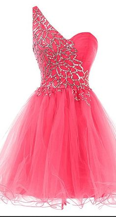 One-Shoulder Homecoming Dress V-Neck PROM DRESS Fuchsia TULLE SHORT DRESSES…
