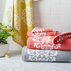 Scroll Medallion Jacquard Towels in yellow #westelm