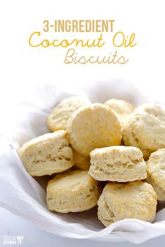 This 3-ingredient Coconut Oil Biscuits recipe is SUPER easy, and makes perfectly warm, fluffy and delicious biscuits in just 20 minutes! / Wholesome Foodie <3