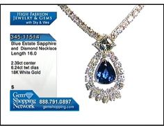 Estate Necklace - 2.39ct Blue Sapphire & 6.24ctwt Diamond, set in 18K White Gold, Necklace Length 16 inches