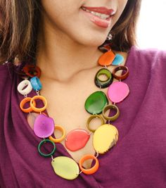 Sustainable multicolor rainbow tagua by OrganicjewelrybyAlli, $50.00