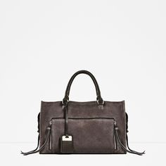 Image 2 of LEATHER CITY BAG from Zara