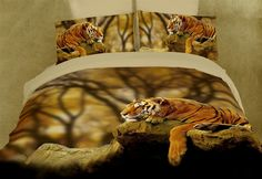 Lonely Tiger 6PC Duvet Cover Set (Full/Queen Size)