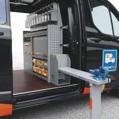 Lifting vice benches with floor support Trailer Organization, Trailer Storage, Truck Storage, Van Storage, Tool Storage, Van Racking Systems, Van Racking Ideas, Van Shelving, Work Trailer