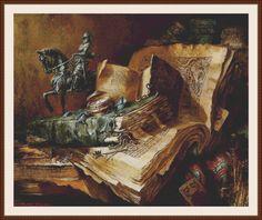 Naturaleza muerta con libros antiguos y estatua  contado