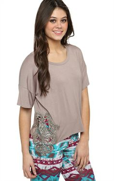 Deb Shops Short Sleeve Top with Crochet Sides $14.63