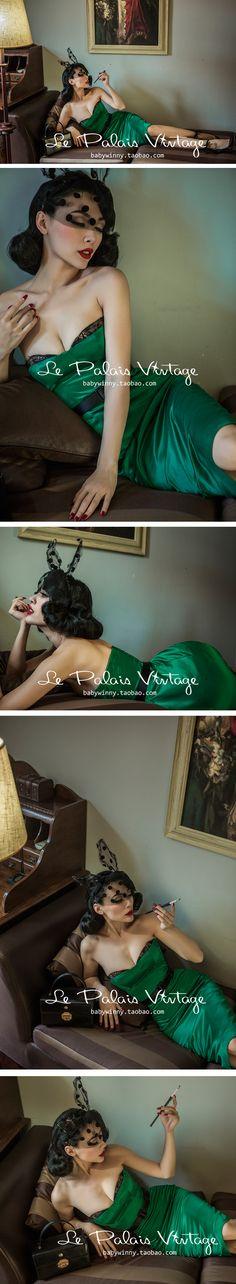 le palais vintage 复古优雅性感蕾丝胸衣式祖母绿绸缎抹胸裙0.2-淘宝网