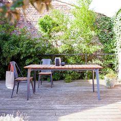 Chaise de jardin en métal et teck Toscane rouge