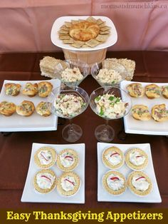 Easy Thanksgiving Appetizers - Crescent Wrapped Brie, Roasted Garlic Mashed Potatoes with Toppings, Crescent Bacon-Cheese Tartlets, Spinach Dip Tarts