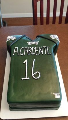 "Philadelphia eagles themed birthday cake...except have #40 with ""Davis"" as last name."