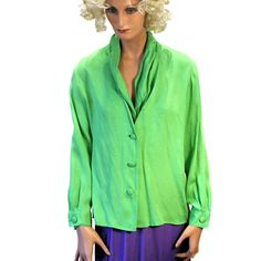 Green Smoothie Christian Dior 80s Blouse Silk L from MorningGlorious on Etsy