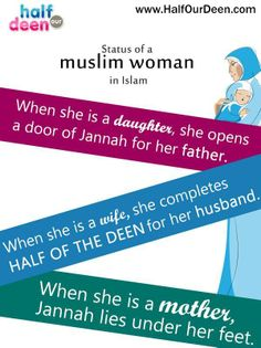 status of a Muslim woman in Islam. beautiful infogram about the status of women in islam Islamic Teachings, Islamic Quotes, Islamic Msg, Islamic Messages, Muslim Quotes, Religious Quotes, Urdu Quotes, Poetry Quotes, Hadith