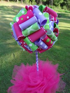 Ribbon Topiary in Green, Pink, Lavender for Party/Shower Centerpiece/Decoration: Small Size