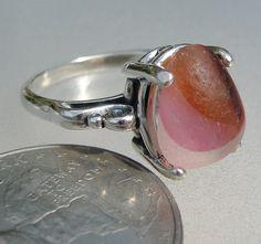 HL Sea Glass & Beach Glass Jewelry, End of Day pink swirl sea glass ring.