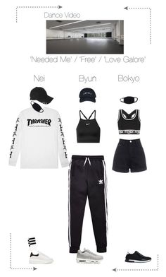 """Lunar (루나) 'Needed Me' / 'Free' / 'Love Galore' by Dance Line (Dance Video)"" by lunar-official ❤ liked on Polyvore featuring adidas Originals, NIKE, Alexander McQueen, HUF, Fendi and Givenchy"