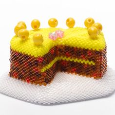 This chocolate gateau bead kit is for instructions in Sweet Treats book by Katie Dean. The kit contains all the beads you will need for a chocolate gateau. Loom Beading, Beading Patterns, Beading Ideas, Beaded Wedding Cake, Peyote Stitch Tutorial, Simnel Cake, Cake Kit, Bead Kits, Halloween Cakes