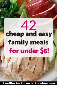 Find 42 cheap and easy meals to feed your hungry family! You can get these simple, tasty, inexpensive meals on the table in 30 minutes or less! Easy Family Meals, Frugal Meals, Budget Meals, Easy Meals, Easy Budget, Budget Recipes, Cheap Recipes, Fast Recipes, Tight Budget