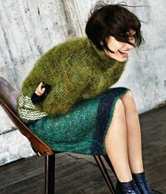 olive green fuzzy knit sweater, knitted skirt in emerald green,