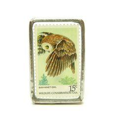 Owl Brooch with Vintage Postage Stamp