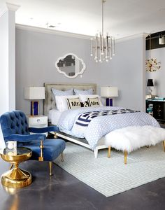 A blue themed bedroom from the Jonathan Adler store on Lexington Avenue in New York City.