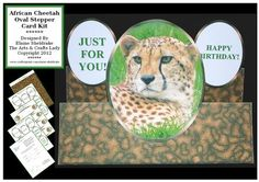 African Cheetah On The Wild Side Oval Stepper Card Kit on Craftsuprint designed by Elaine Sheldrake - On The Wild Side. Just one of a brand new series of oval stepper card kits. Included in each kit are two sheets of male and female relative tags and sentiments. Very easy to make and come with an instruction sheet with diagrams in the kit. - Now available for download!