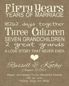 Looking for a fun, whimsical anniversary gift for your parents? This print is a great choice. It list their years and their days together