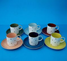 Set of SIX Susie Cooper Art Deco Harlequin Coffee Cans (cups) & Saucers