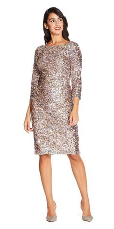 ba8c3c9a47581 Deep V Back Three Quarter Sleeve Multi Sequin Cocktail Dress by Adrianna  Papell