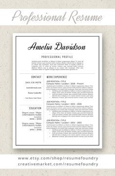 professional resume template for word 1 3 page resume cover letter reference page us letter instant download davidson