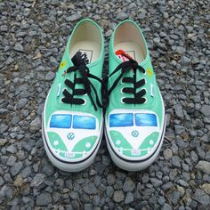 Volkswagen Camper-Van, retro, hippie, Painted Vans, Toms, Converse shoes, sneakers. Vw shoes on Etsy, $118.00