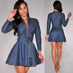 Gender: Women Waistline: Natural Fabric Type: Denim Dresses Length: Above Knee, Mini Season: Autumn Silhouette: A-Line Neckline: V-Neck Sleeve Length: Full Pattern Type: Solid Sleeve Style: Regular St