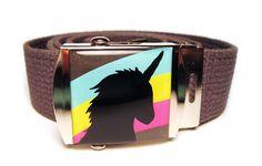 Rainbow Unicorn Canvas Belt, bubbledog, Etsy, $16,00