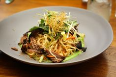 Chilled Ramen Salad, ginger braised short ribs, spiced english peas