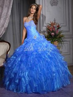 2013 New Blue Organza Prom Ball Gown. For the ball I'll never have haha