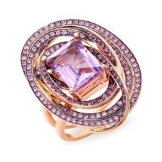 "18k rose Gold ring. Center stone 10mmx8mm. Tycoon cut Amethyst 2.75ct. Pavé set with 172 pieces of Amethyst 1.35ct. Retail price $4,295.....The TYCOON CUT is a design of a diamond that was created in 1999 by the two Toros Kejejian cousins.The design holds four international patents.The TYCOON CUT is a simple design with 9 crown facets and 20 step-cut pavilion facets.The cuts has a signature diamond shaped table that has earned the trademark slogan: ""THE ONLY DIAMOND WITH A DIAMOND TOP""."