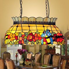 BYB Tiffany Style Stained Glass Hanging Pendant Ceiling Lamp Chandelier 4 Lights