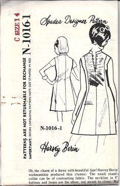 1968 Harvey Berin Dress Pattern Spadea by DawnsDesignBoutique, $15.00