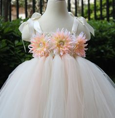 Flower Girl Dress Blush peach Ivory tutu by coloranglesBoutique
