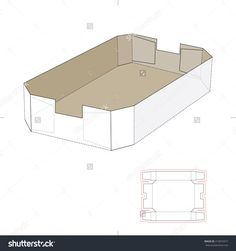 Tapered Tray Box With Die Line Template Stock Vector Illustration 413072977 : Shutterstock