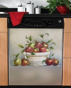 Red Apple Kitchen Decor | Red Apple Magnetic Dishwasher Cover Magnet Kitchen Decor