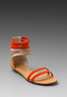 REBECCA MINKOFF:  Baby Sandal in Persimmon/Ocra    -     Reg: $225.00     Color: Persimmon & Ocra