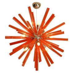 Check out this interpretation of the Sputnik in bright orange murano glass. An interior designer's dream! Orange Chandeliers, Murano Chandelier, Lights Fantastic, Look Vintage, Vintage Lamps, Mid Century Modern Furniture, Murano Glass, Hanging Lights, Accent Decor