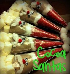 Simple DIY Christmas Gift Ideas - Cocoa Santas - Click pic for 25 Handmade Christmas Gift Ideas