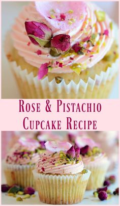 A delicate and feminine rose infused cupcake, perfect for your bridal shower or Mother's Day tea party. A delicate and feminine rose infused cupcake, perfect for your bridal shower or Mother's Day tea party. Cupcake Recipes, Baking Recipes, Dessert Recipes, Cupcake Flavors, Baking Desserts, Mini Cakes, Cupcake Cakes, Party Cupcakes, Rose Cupcake