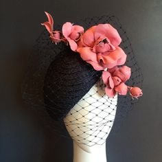 If I was in Paris for a day $465 beautiful hand dyed textured straw in a side sitting face hugger wrapped in navy veiling and finished with a spray of pink leather roses. Perfect for Paris - or the races #milliner #millinery #springcarnival #MSFW #oaksday #ladiesday #leatherflowers