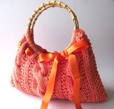 KNITTING PATTERN BAG Handbag with Ribbon pdf by LiliaCraftParty